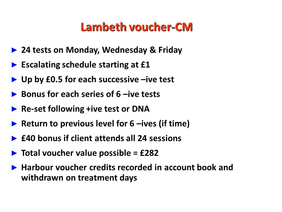 Lambeth voucher-CM 24 tests on Monday, Wednesday & Friday