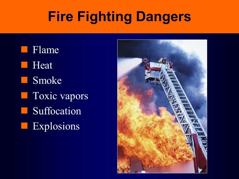 Fire Fighting Dangers Flame Heat Smoke Toxic vapors Suffocation