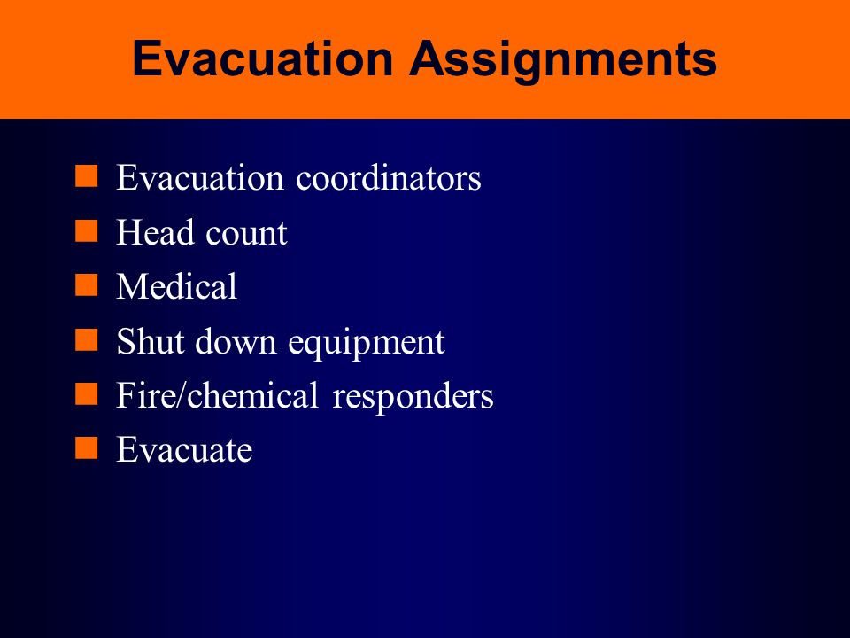 Evacuation Assignments