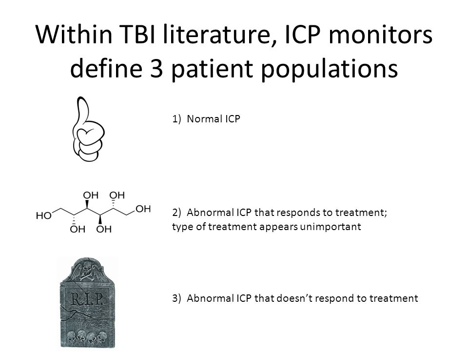 Within TBI literature, ICP monitors define 3 patient populations