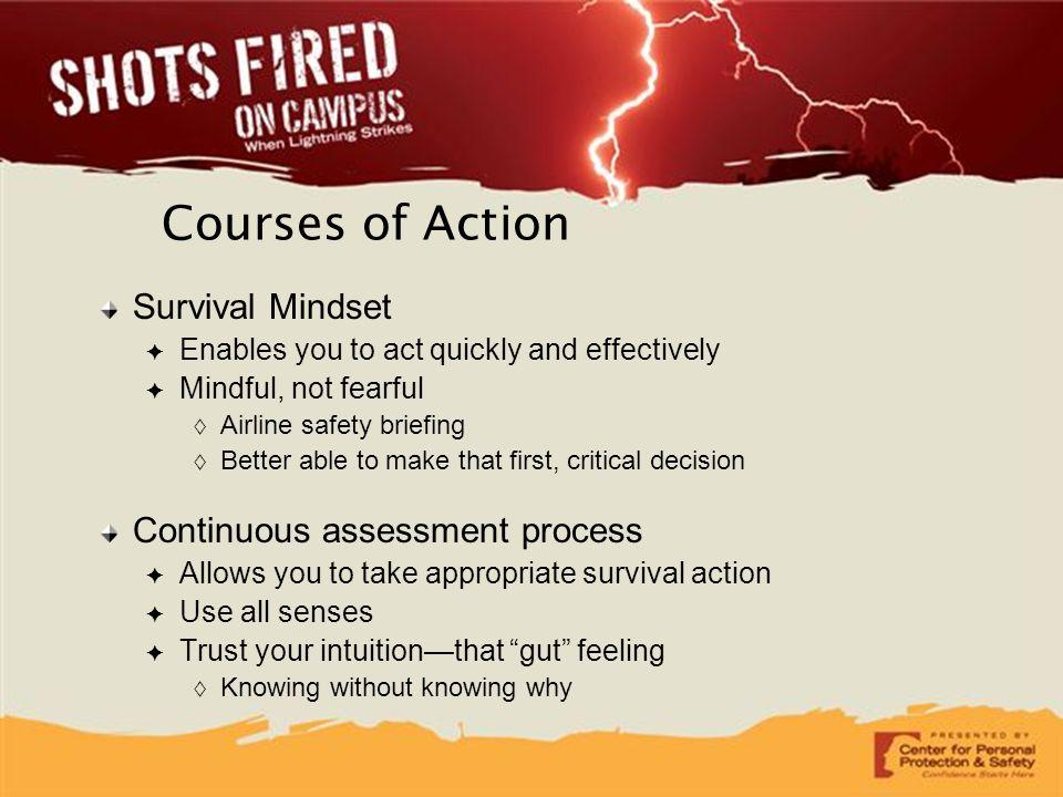 Courses of Action Survival Mindset Continuous assessment process