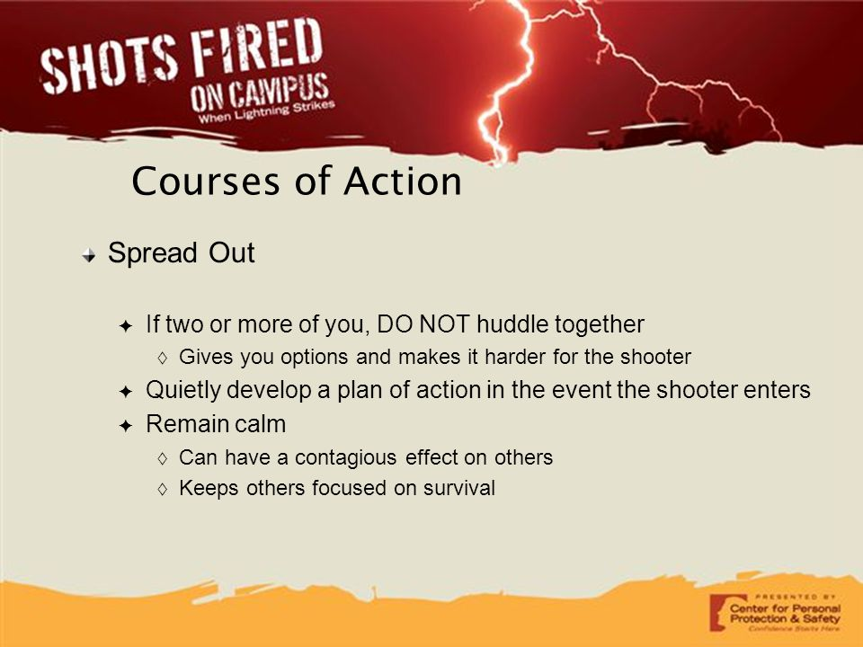 Courses of Action Spread Out