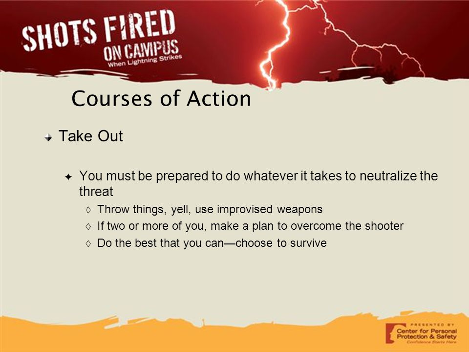 Courses of Action Take Out