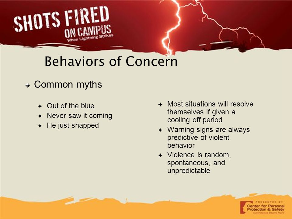 Behaviors of Concern Common myths Out of the blue Never saw it coming