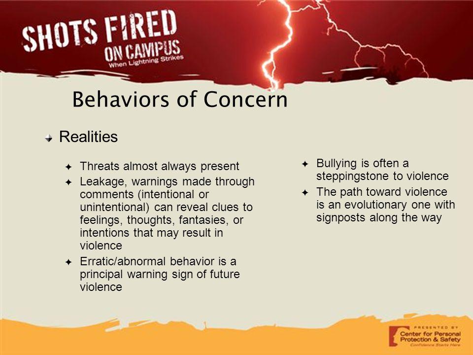 Behaviors of Concern Realities Threats almost always present