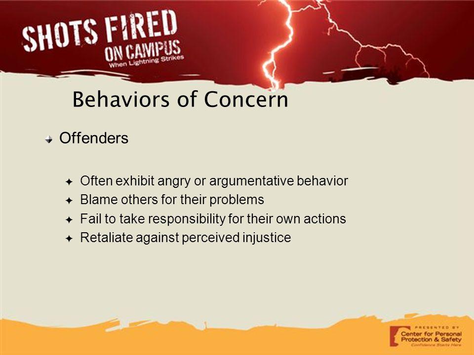 Behaviors of Concern Offenders