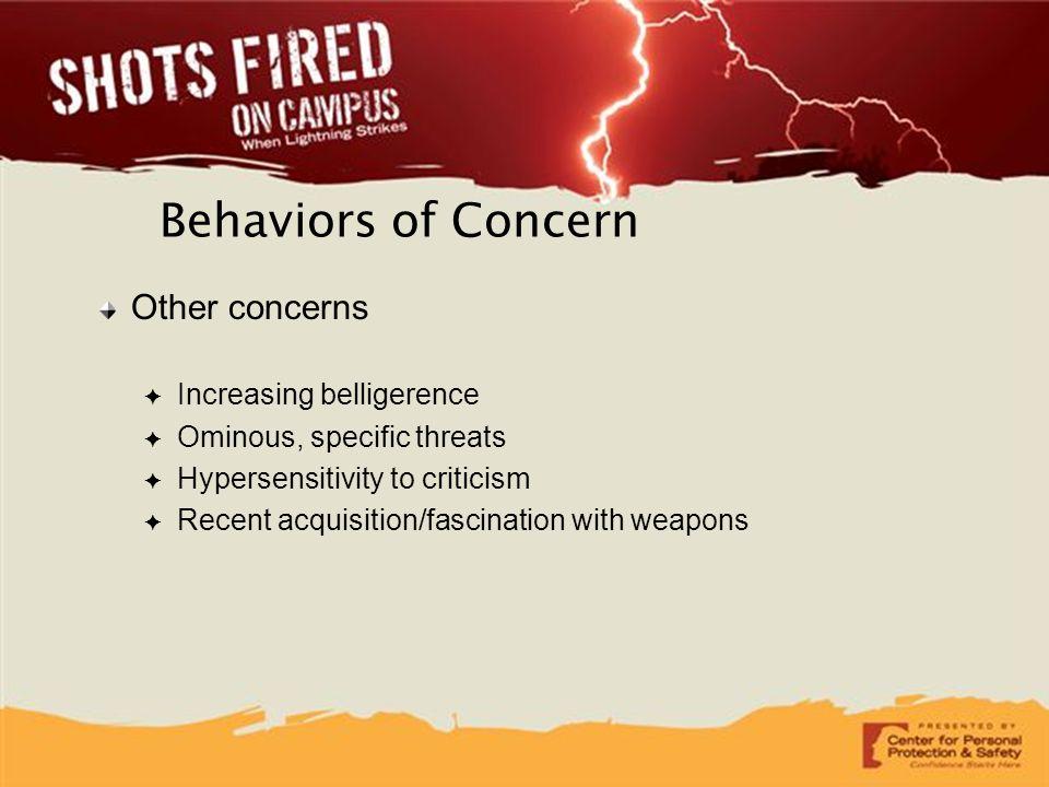 Behaviors of Concern Other concerns Increasing belligerence