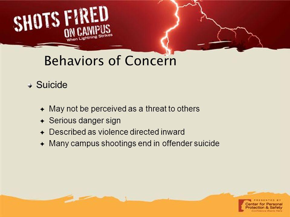 Behaviors of Concern Suicide