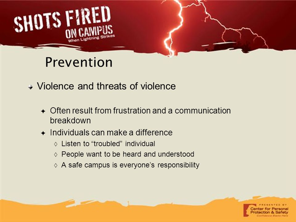 Prevention Violence and threats of violence