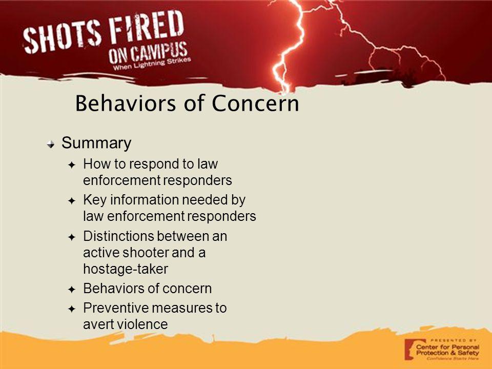 Behaviors of Concern Summary