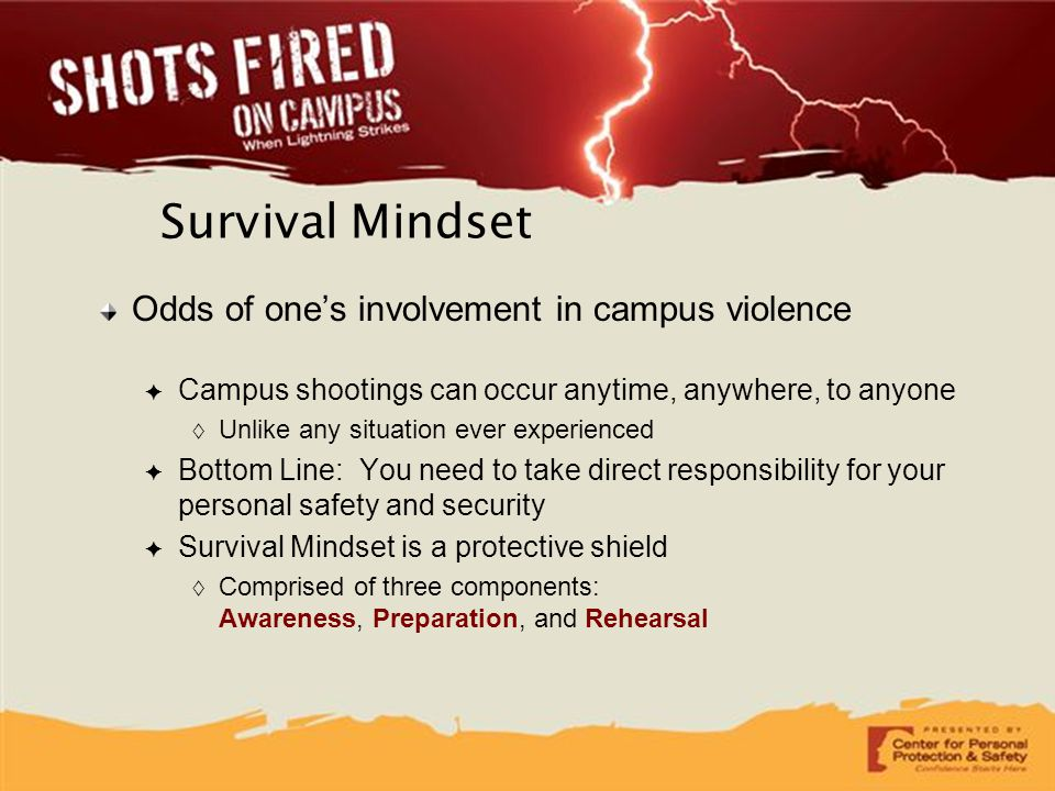 Survival Mindset Odds of one's involvement in campus violence