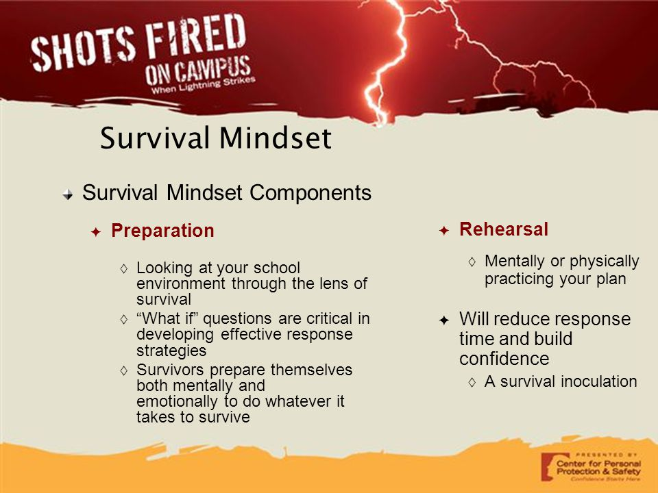 Survival Mindset Survival Mindset Components Preparation Rehearsal