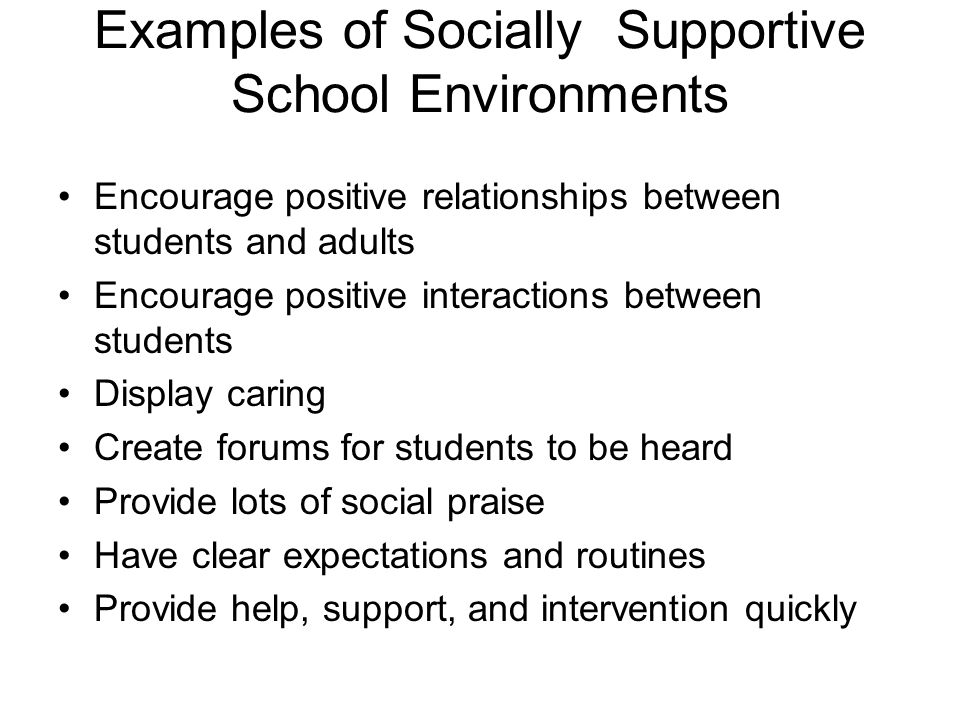 Examples of Socially Supportive School Environments
