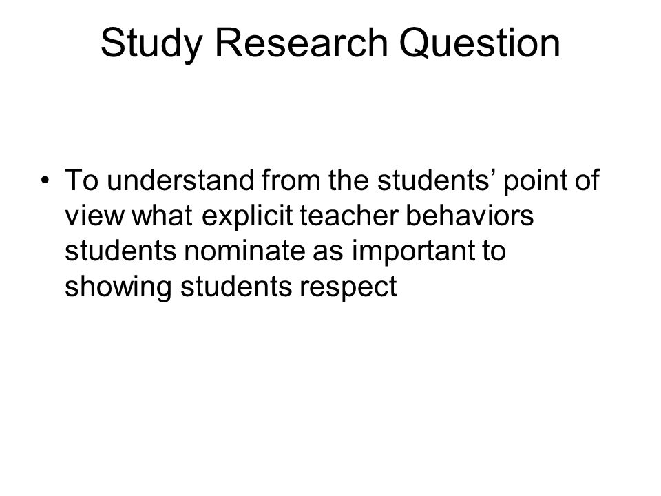 Study Research Question