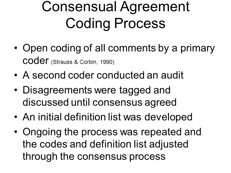 Consensual Agreement Coding Process