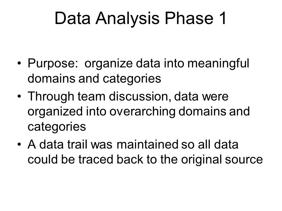 Data Analysis Phase 1 Purpose: organize data into meaningful domains and categories.