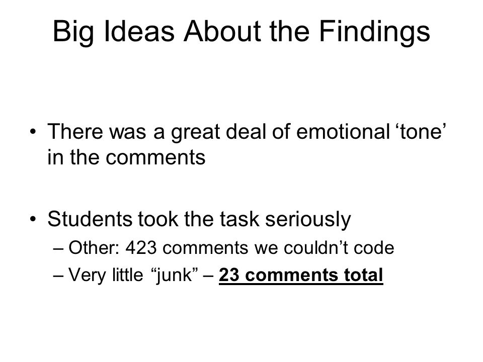 Big Ideas About the Findings