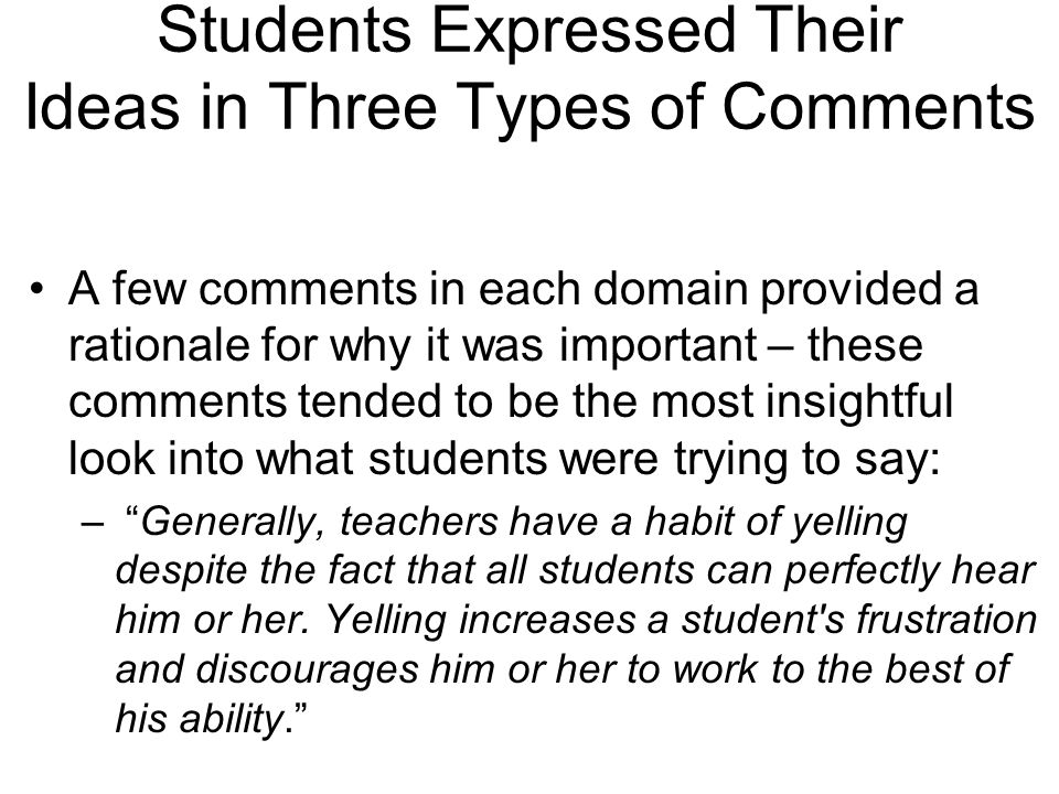 Students Expressed Their Ideas in Three Types of Comments