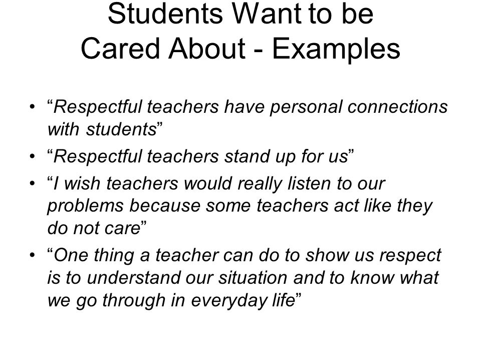 Students Want to be Cared About - Examples