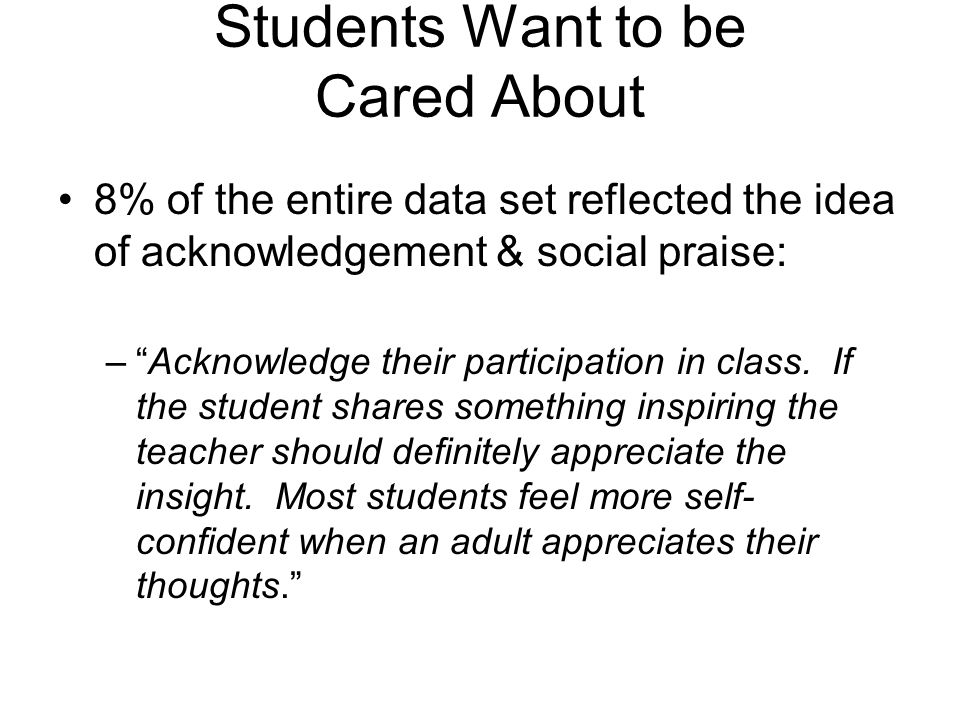 Students Want to be Cared About