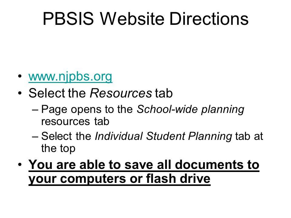 PBSIS Website Directions