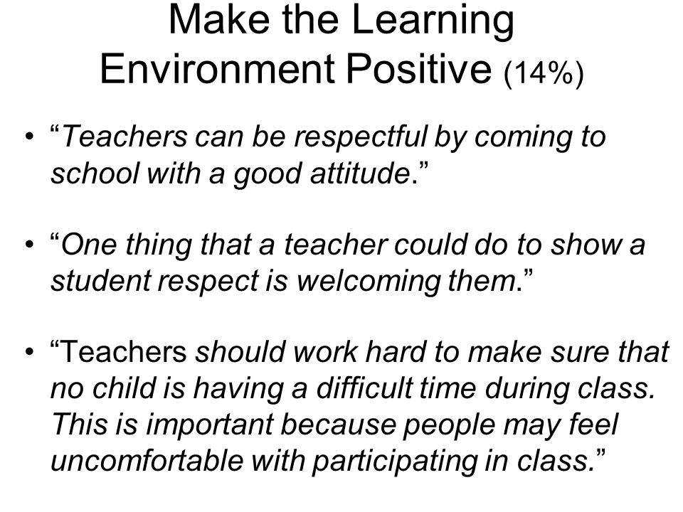 Make the Learning Environment Positive (14%)