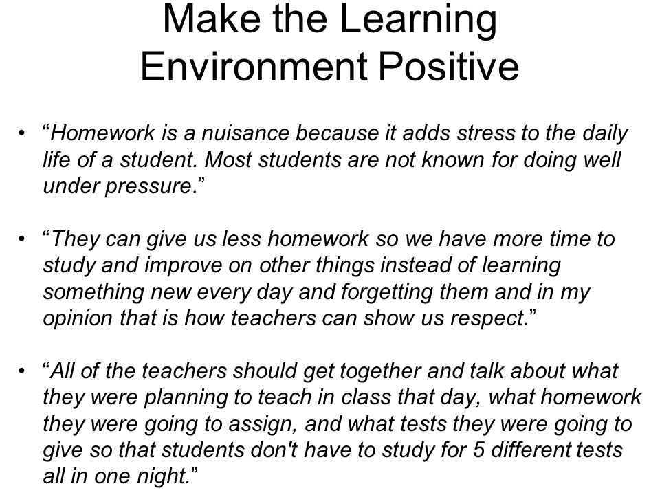 Make the Learning Environment Positive