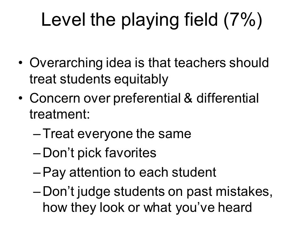 Level the playing field (7%)