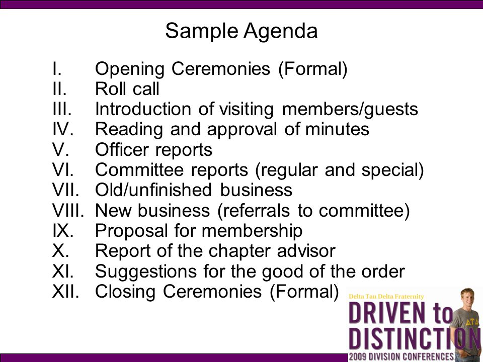 Sample Agenda Opening Ceremonies (Formal) Roll call