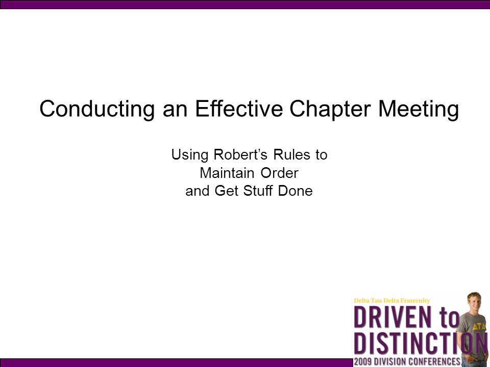 Conducting an Effective Chapter Meeting