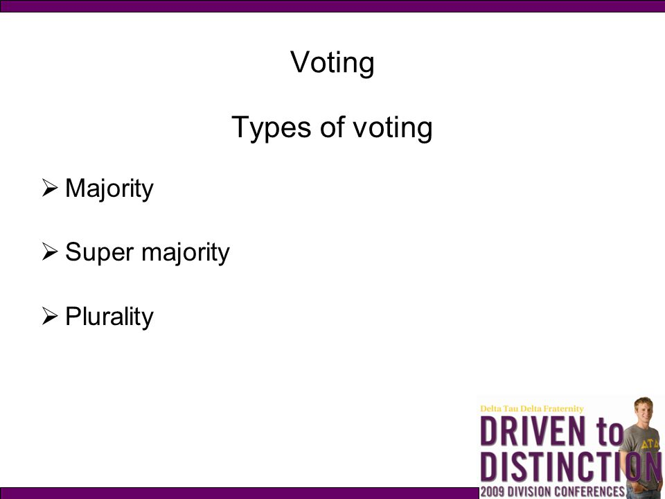 Voting Types of voting Majority Super majority Plurality p. 99