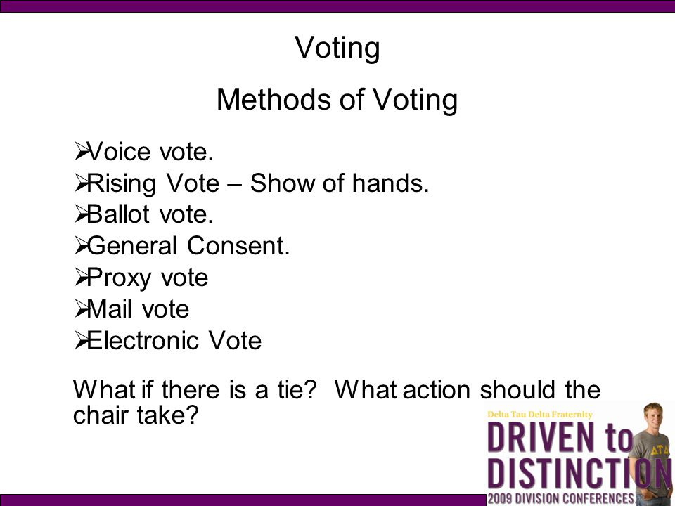 Voting Methods of Voting Voice vote. Rising Vote – Show of hands.