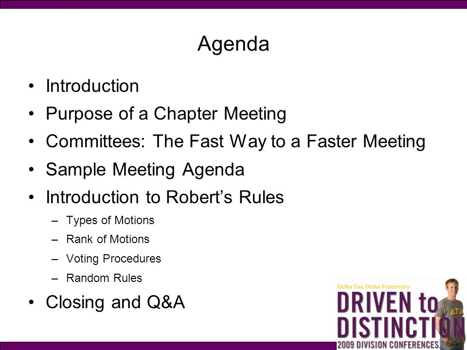 Agenda Introduction Purpose of a Chapter Meeting