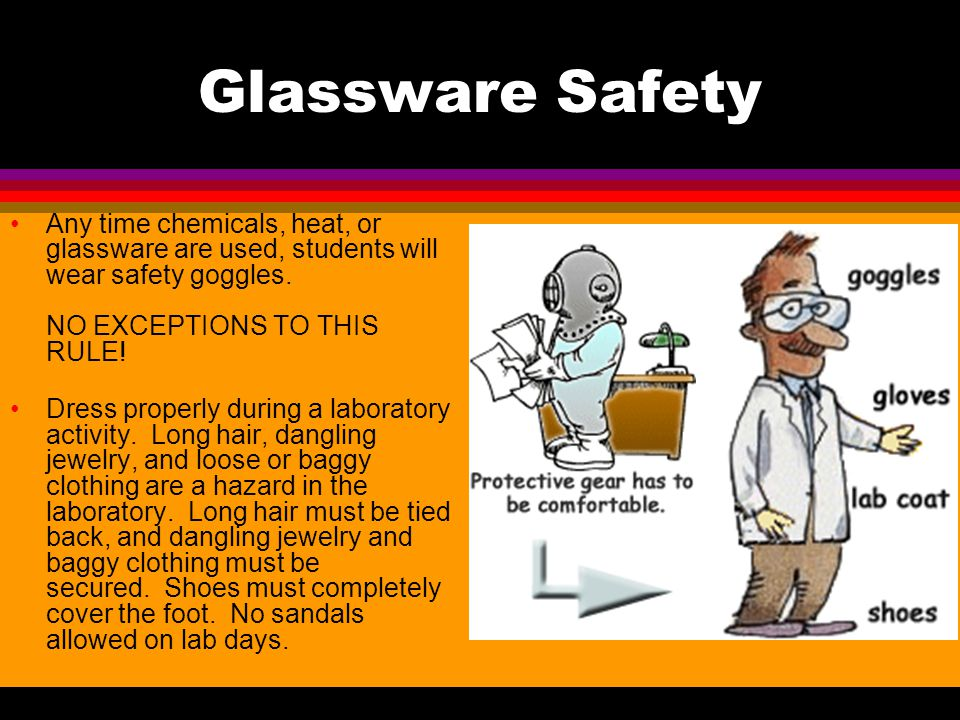 Glassware Safety Any time chemicals, heat, or glassware are used, students will wear safety goggles. NO EXCEPTIONS TO THIS RULE!