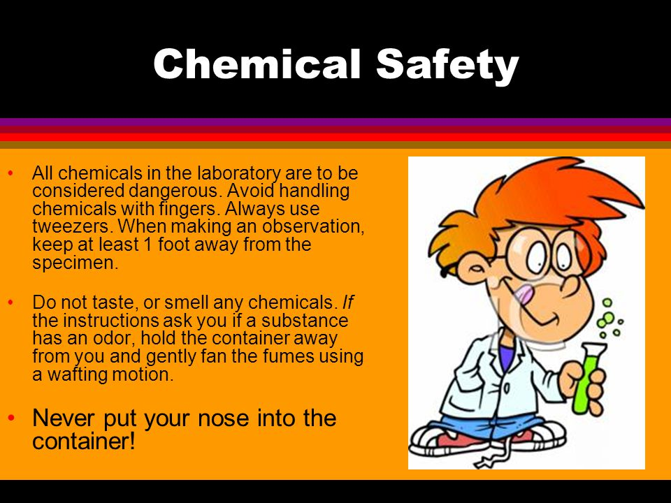 Chemical Safety Never put your nose into the container!