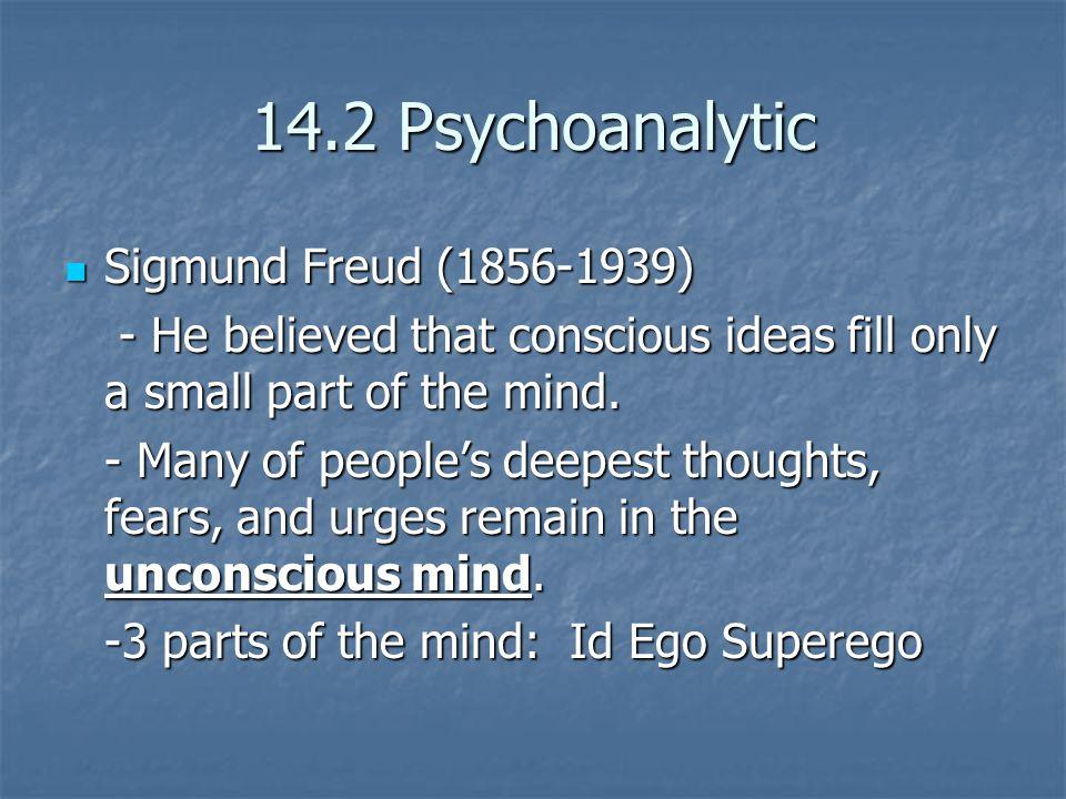 14.2 Psychoanalytic Sigmund Freud (1856-1939)