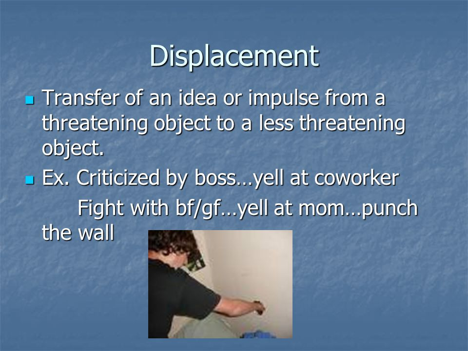 Displacement Transfer of an idea or impulse from a threatening object to a less threatening object.