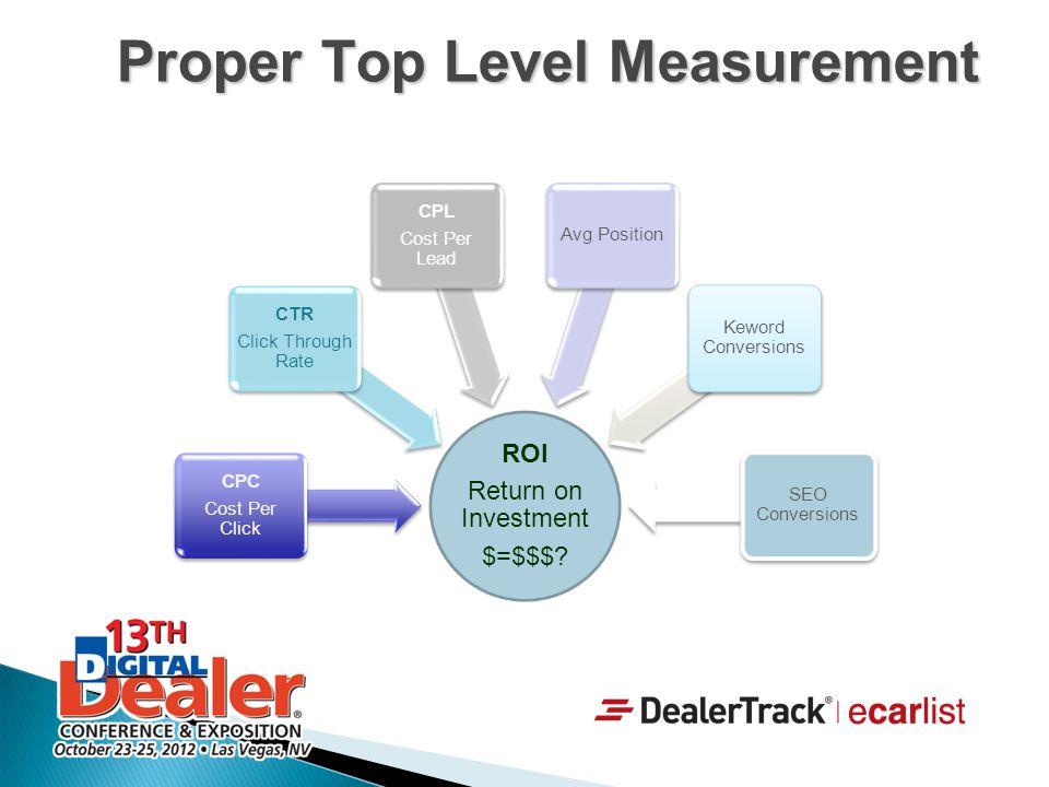 Proper Top Level Measurement
