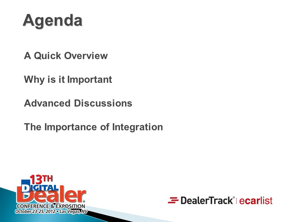 Agenda A Quick Overview Why is it Important Advanced Discussions