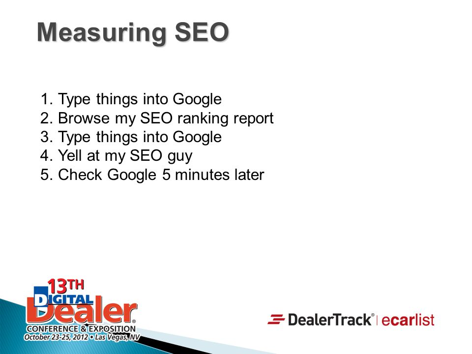 Measuring SEO Type things into Google Browse my SEO ranking report