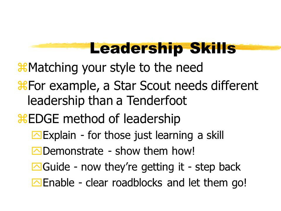 Leadership Skills Matching your style to the need