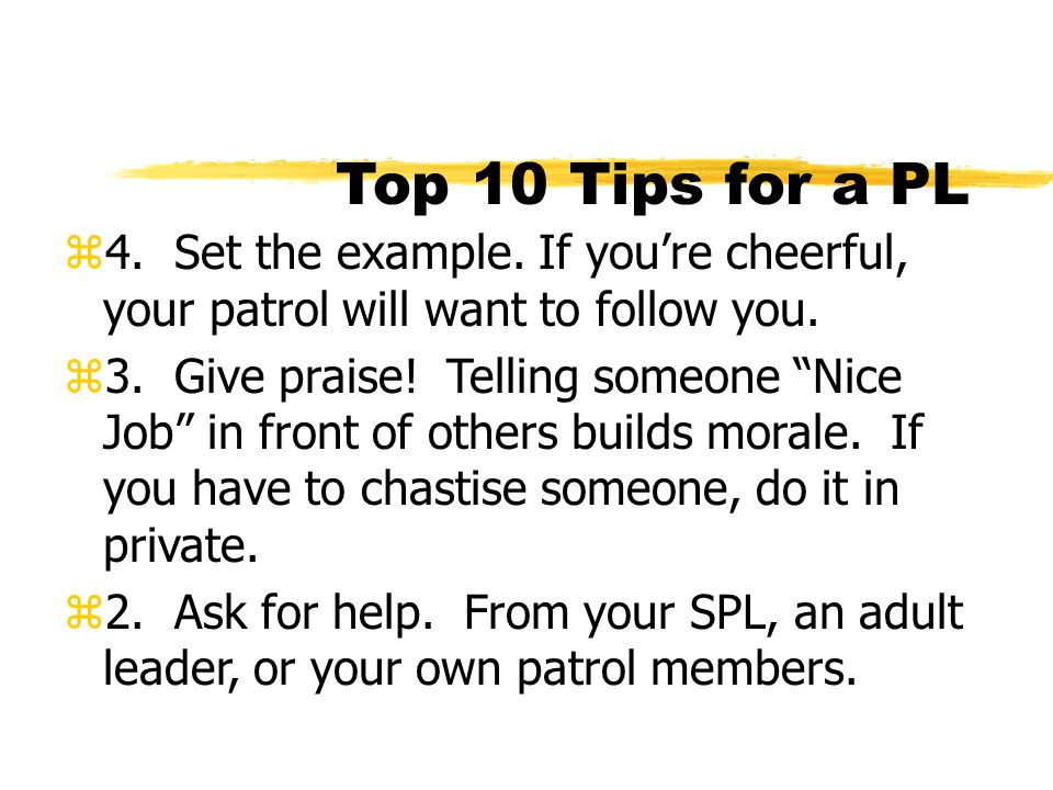 Top 10 Tips for a PL 4. Set the example. If you're cheerful, your patrol will want to follow you.