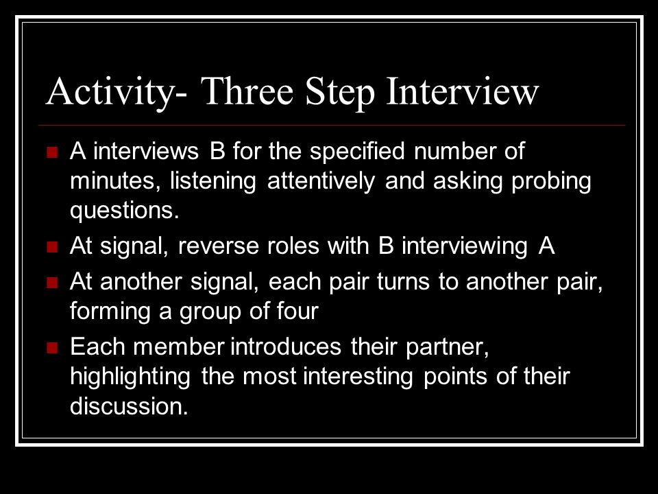 Activity- Three Step Interview