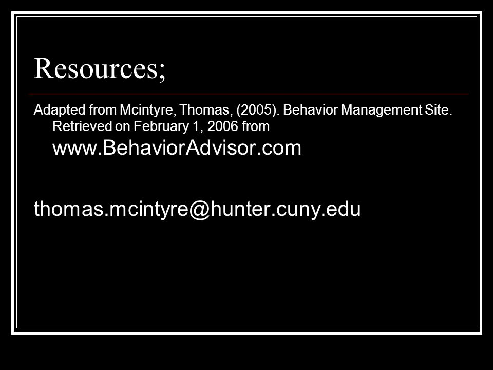 Resources; thomas.mcintyre@hunter.cuny.edu