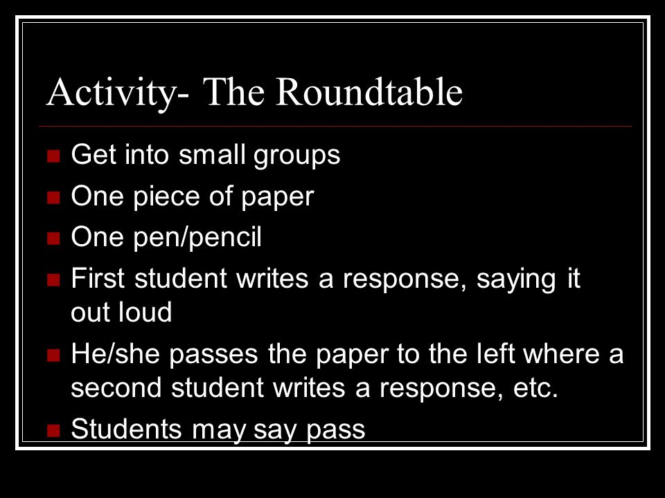Activity- The Roundtable