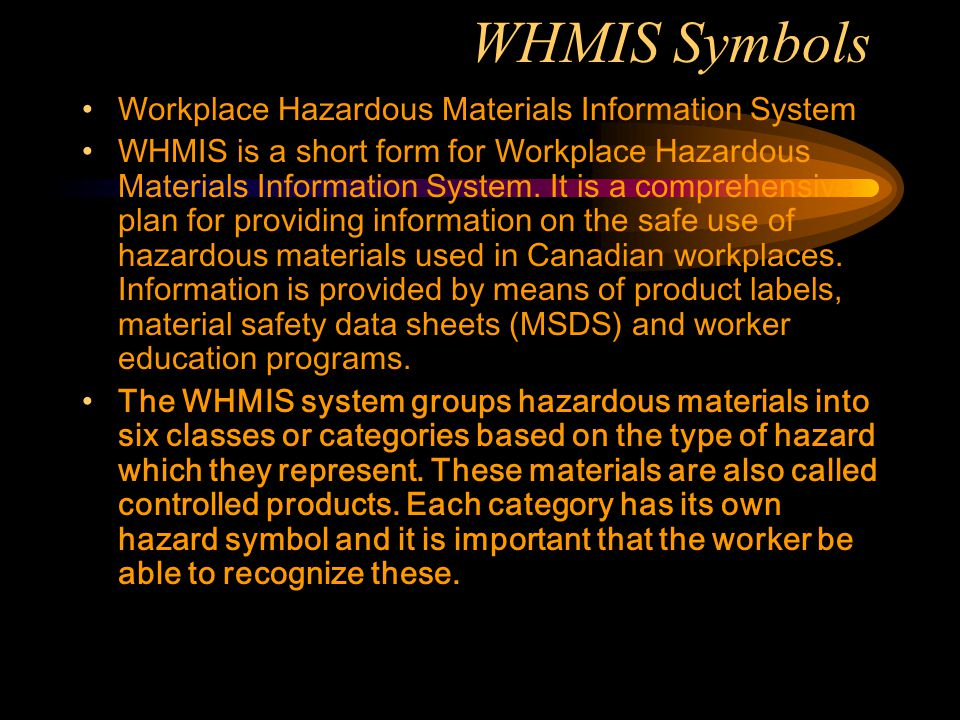 WHMIS Symbols Workplace Hazardous Materials Information System