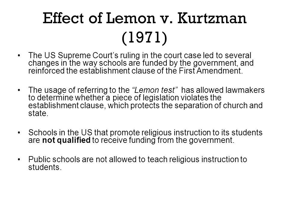 Effect of Lemon v. Kurtzman (1971)