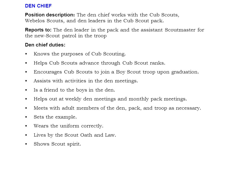 DEN CHIEF Position description: The den chief works with the Cub Scouts, Webelos Scouts, and den leaders in the Cub Scout pack.