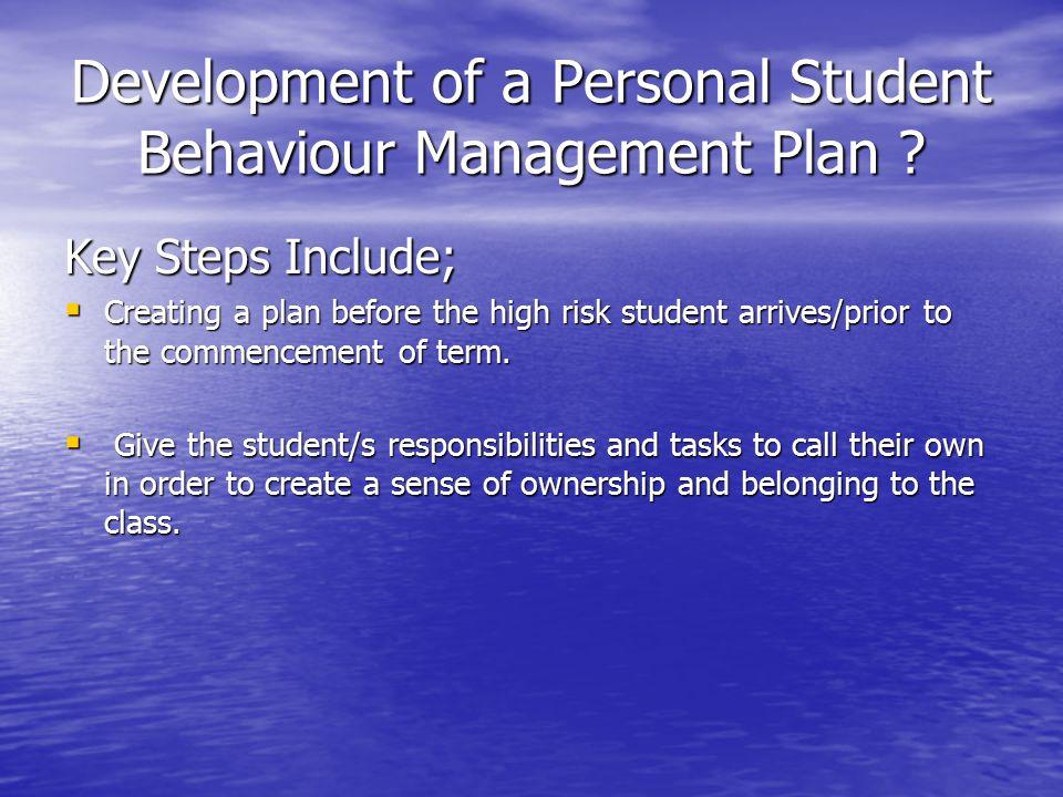 Development of a Personal Student Behaviour Management Plan