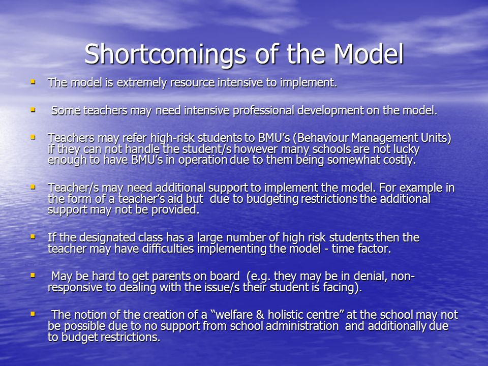 Shortcomings of the Model